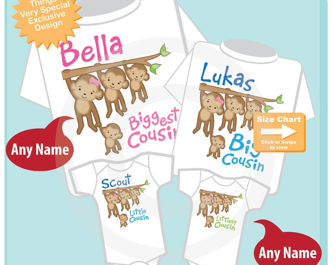 Set of Four Biggest Cousin, Big Cousin, Little Cousin and Littlest Cousin Tee Shirts or Onesies with Monkeys 12012017b