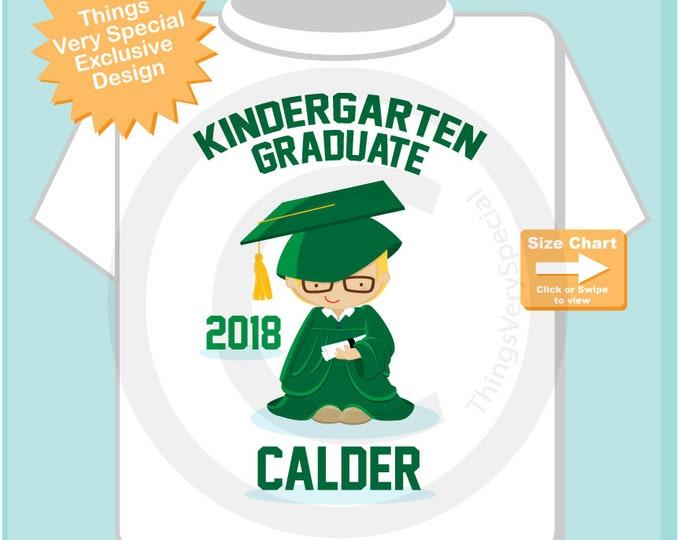 Personalized Kindergarten Graduate Shirt with boy with glasses, Kindergarten Graduation Shirt Child's Graduation shirt 05152018c