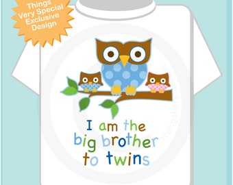 Big Brother Shirt I am the Big Brother To Twins Owl Tee Shirt or Big Brother Onesie Pregnancy Announcement, Owl Big Brother (04042017h)