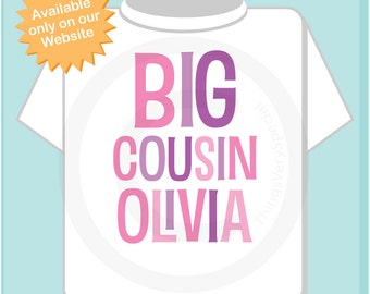 Big Cousin Shirt or Onesie, Personalized Big CousinShirt, Infant, Toddler or Youth sizes t-shirt (06192012a)