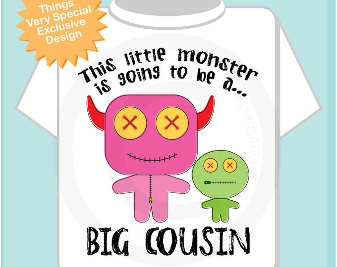 Girl's, This Little Monster is Going to Be A Big Cousin Shirt or Onesie, Personalized, Monster Shirt with Unknown Sex Baby (04092013g)