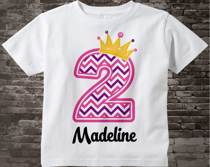 Second Birthday Shirt, Pink Chevron 2 Birthday Shirt, Any Age Personalized Girls Birthday Shirt Pink Age and Name Tee for kids 05232014d