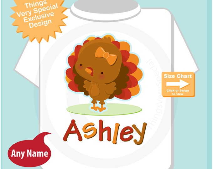 Personalized Thanksgiving Turkey Tee Shirt or Onesie, Cute Thanksgiving Theme Tee Shirt or Bodysuit (09112014c)