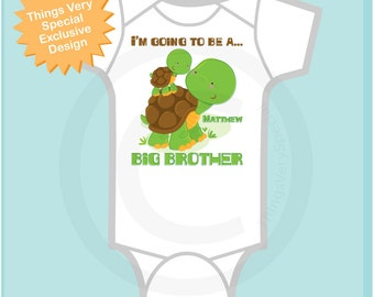 Personalized I'm Going to Be A Big Brother Turtle Onesie, Big Brother shirt, with Little Brother or Unknown Sex Baby 04092012a1