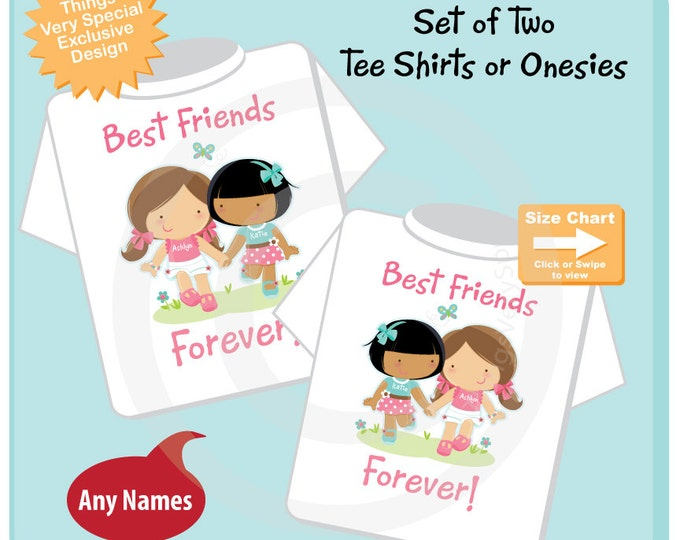 Set of Two, Personalized Best Friends Forever Shirt or Onesie with two Girl Best Friends one caucasian one light brown skin (10102014b)