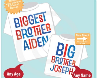 Biggest Brother and Big Brother Shirt set of 2, Sibling Shirt, Personalized Tshirt with Red and Blue Letters (06292015d)