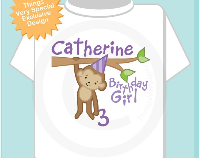 Birthday Shirt, Monkey Shirt, Girl Birthday Shirt, Personalized Birthday Girl Monkey Tee or Onesie any Age