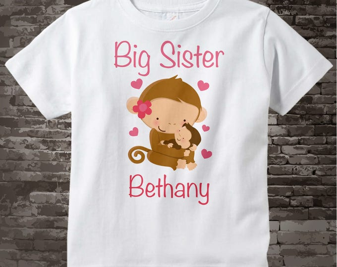 Personalized Big Sister Monkey Shirt, Big Sister Onesie, Monkey Shirt with Little Brother, Little sister or Unknown Sex Baby 02042014b1