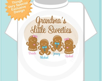 Personalized Grandma's Little Sweeties, Christmas Holiday T shirt with Grandchildren's names