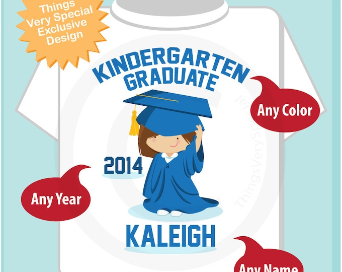 Kindergarten Graduate Shirt, Kindergarten Graduation Shirt, Personalized for your little girl with year, name and color (05172012c)