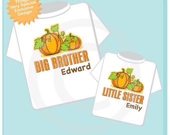 Sibling Pumpkin Shirt Set, Set of Two, Big Brother Shirt and Little Sister Onesie or shirt,  Personalized Shirt or Onesie 08312011j