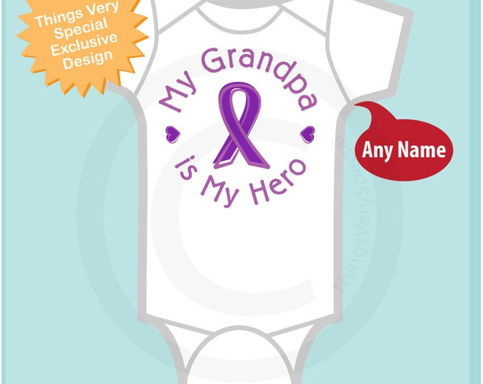 Personalized My Grandpa is My Hero, Pancreatic Cancer Support Tee Shirt or Onesie with Purple Ribbon 02012017d