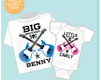 Set of Two Personalized Big Brother and Little Sister Guitar Rocker Shirt or Onesie, Infant, Toddler or Youth sizes t-shirt 03192014b