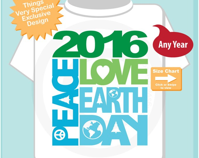 Peace Love Earth Day Shirt, Earth Day Shirt or Onesie Bodysuit, Shirt for Toddlers and Kids 04012015b
