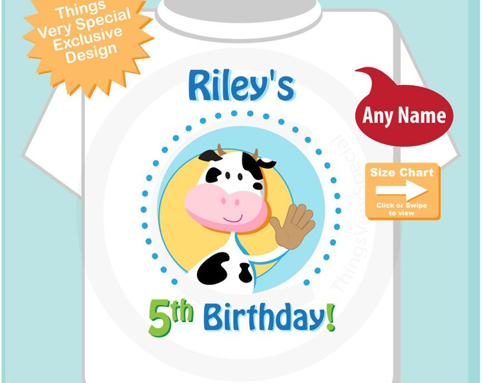 Boys Fifth Birthday Shirt Farm Theme Birthday with Cow Personalized 5th Birthday Farm Theme 04092015a
