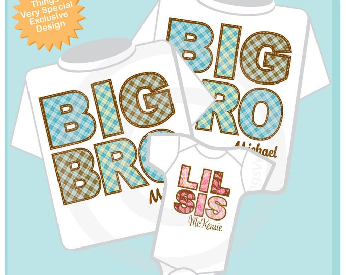 Set of Three Big Brother Shirt, Big Brother Shirt, and Little Sister Shirt Set Personalized Pregnancy Announcement (10262011a)