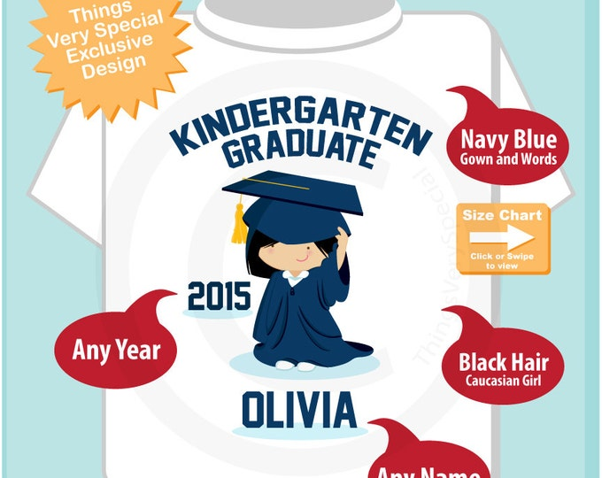 Kindergarten Graduate Shirt, Kindergarten Graduation Shirt, Personalized for your little girl with year and name (06022014e)