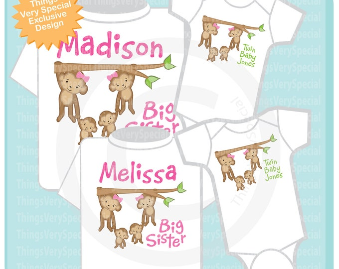 Set of Four, Sibling Monkey Shirt Set, Two Big Sister Shirts and two Twin Baby Unknown Gender Onesies 05102019f