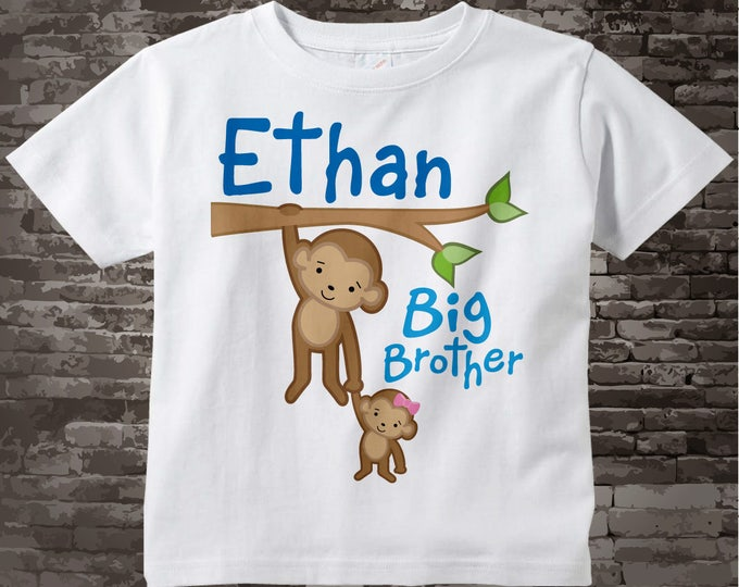 Personalized Big Brother Monkey with Little Sister Baby Tee Shirt or Gerber Onesie 01292014g