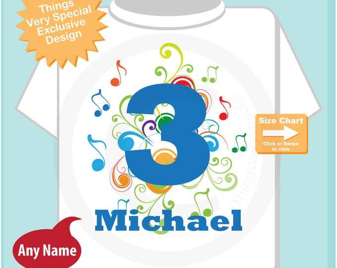 Music Themed Third Birthday Shirt or Onesie Bodysuit Number 3, Personalized Boy's Birthday, Three Year Old Name Tee or One Piece (07242014b)