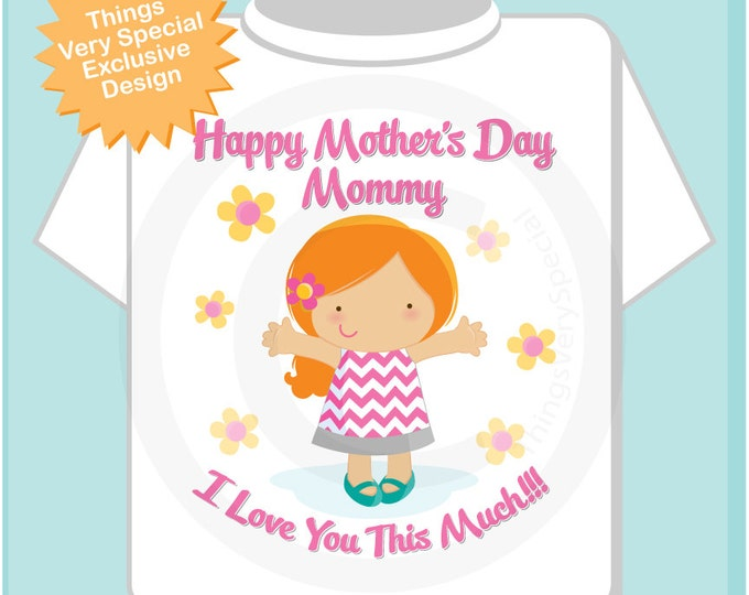 Girl's Happy Mother's Day Mommy Shirt or Onesie for kids, Says I Love You This Much Red Headed girl 04072014i