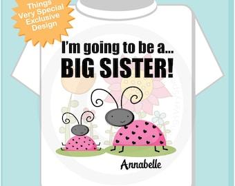 I'm Going to Be A Big Sister Shirt, Big Sister Onesie, Personalized Big Sister Ladybug Shirt with Little Sister Ladybug TShirt 07072012a