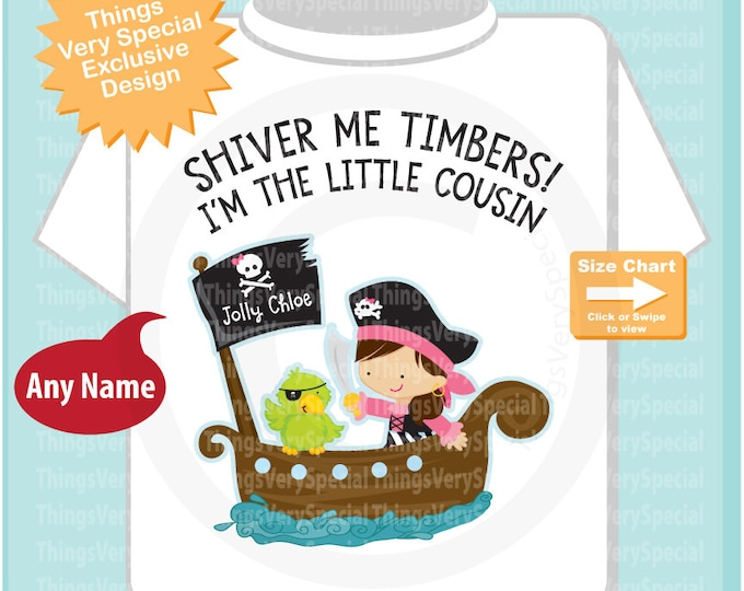 I'm the Little Cousin Pirate Shirt Personalized Pirate Shirt or Onesie with Your Child's Name 07172019c