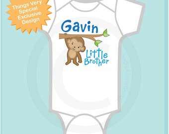 Personalized Little Brother Monkey Tee Shirt or Onesie (12242013a)