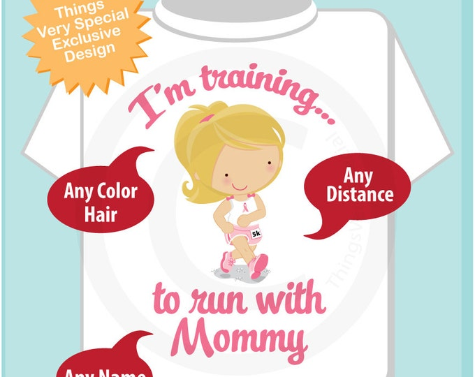 Breast Cancer Run, Personalized I'm Training to Run with Mommy Children's Tee Shirt or Onesie with Breast Cancer Pink Ribbon (06252014c)