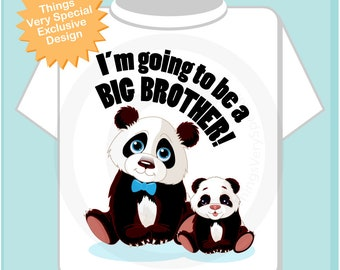 I'm Going to Be A Big Brother Shirt, Big Brother Onesie, Personalized Big Brother Shirt, Panda Bear Shirt with Unknown Sex Baby (01222012j)