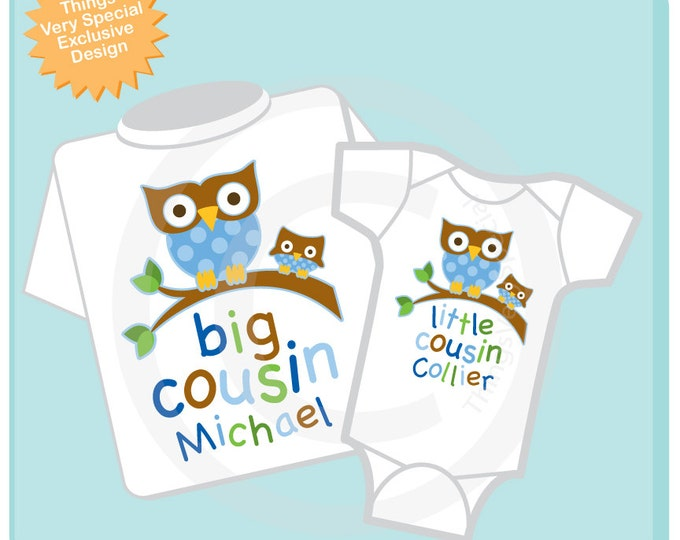 Set of Two Big Cousin Owl Shirt, and Little Cousin Owl Onesie or Shirt Set Personalized Owl Tee Shirt or Onesie Set of Two (10042013b)
