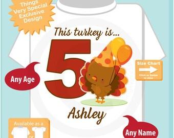 Turkey 5th Birthday shirt - Fifth Birthday Girl shirt - Turkey Thanksgiving 5 year old birthday party theme 09102018a