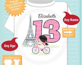 Thirteenth Paris Birthday Shirt, Pink 13 Birthday Shirt, Personalized Girls Birthday Shirt Pink Age and Name Tee for kids 03222019a