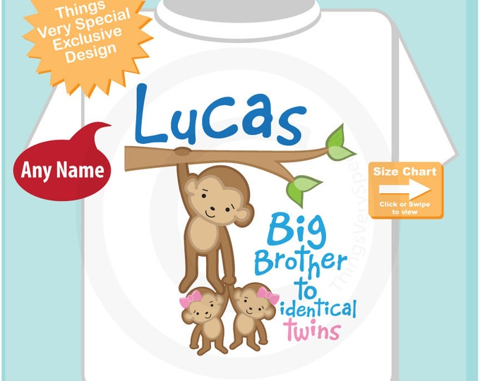 Big Brother to Identical Twins both girls Shirt or Onesie, Big Brother Monkey with twin babies, Personalized (04272015c)
