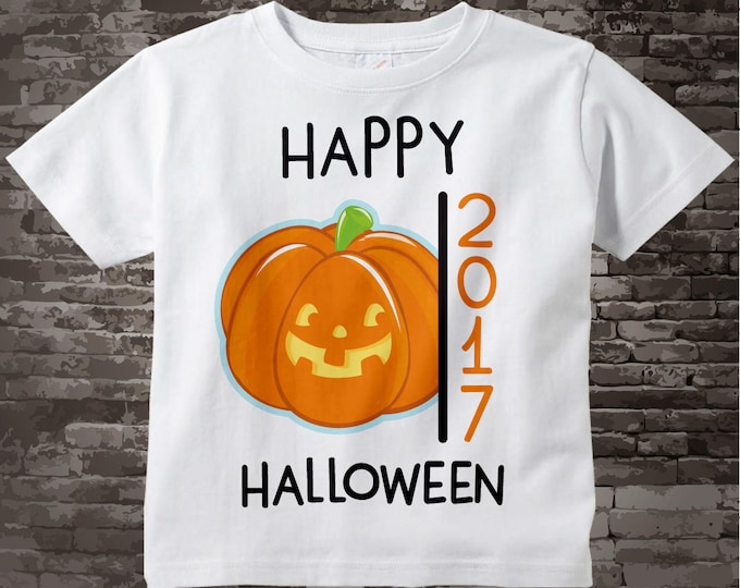 Happy Halloween 2017 Jack-O-Lantern Pumpkin Shirt or Onesie Bodysuit, Cute Pumpkin Happy Halloween 2017 shirt or Onesie 09262017j