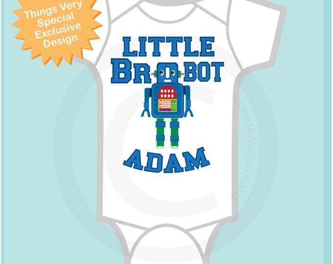 Dark Blue Robot Brobot shirt, Little Brother Shirt, Personalized Little Brother Robot Onesie or Tee Shirt (11142013a)