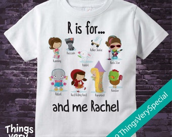 Girl's Personalized R is for Shirt or Onesie Personalized with childs name with everything that starts with R, alphabet learning 01302019d