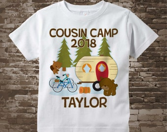 Personalized Cousin Camp Shirt or Onesie, perfect for Grandma's summer camp Boys or Girls |Summer Outdoors 03132018b