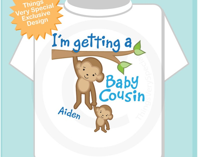 I'm Getting a Baby Cousin Shirt, Big Cousin Onesie, Personalized Big Cousin Shirt, Monkey Shirt with Unknown Sex Baby (09182012b)