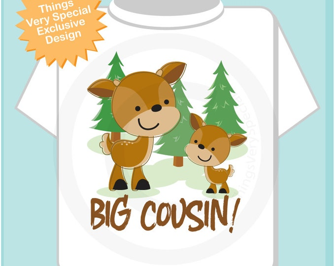 Personalized Big Cousin Woodland Deer Tee Shirt or Onesie, Big Cousin Boy Buck with little cousin any sex. (12182013a)