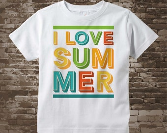 I love Summer shirt or Onesie Bodysuit, Colorful summer colors, cotton t-shirt, 07172018c
