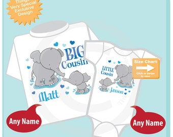 Set of Two, Personalized Elephant Big Cousin Boy and Little Cousin Boy Shirt or Onesie Pregnancy Announcement 06192015b