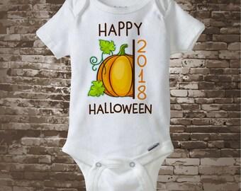 Happy Halloween 2018 Pumpkin Onesie Bodysuit or Shirt, Cute Fall Pumpkin Happy Halloween 2018 shirt or Onesie 09262017f