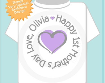 Personalized Happy First Mother's Day, 1st Mothers Day with Lavender Heart Tee Shirt or Onesie, New Mom Gift (05022014h)