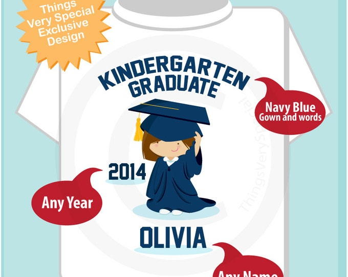 Personalized Kindergarten Graduate Shirt Kindergarten Graduation Shirt Child's Back To School Shirt (05032013a)
