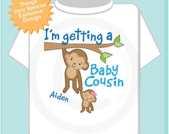 I'm Getting a Baby Cousin Shirt, Big Cousin Onesie, Personalized Big Cousin Shirt, Monkey Shirt with Girl Baby 01272014c