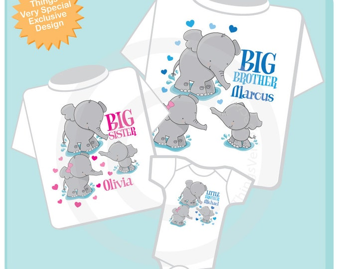 Set of Three, Big Brother, Big Sister and Little Brother Elephant Shirts and Onesie Personalized with your child's name 04172014d