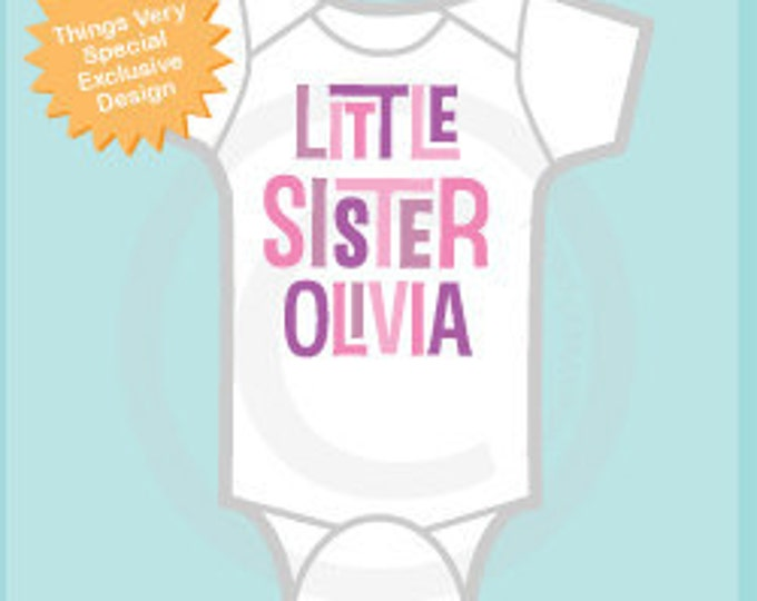 Girl's Personalized Little Sister Onesie or Tee Shirt. Pregnancy Announcement (10262011b)