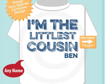 Boys I am the Littlest Cousin TShirt or Onesie Personalized, Infant, Kids Toddler or Youth Clothing sizes Pregnancy Announcement 10082014h