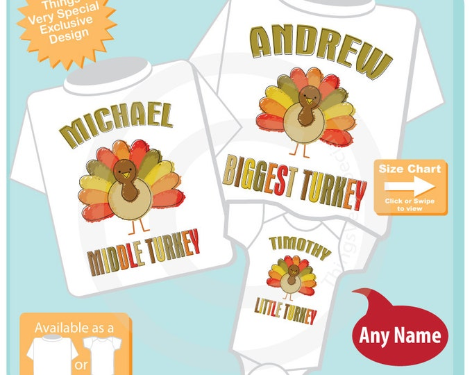 Coordinating Sibling Set - Matching Sibling Shirts - Thanksgiving Turkey SET of 3 - Matching Sibling Outfits - Turkey Sibling 10302015d